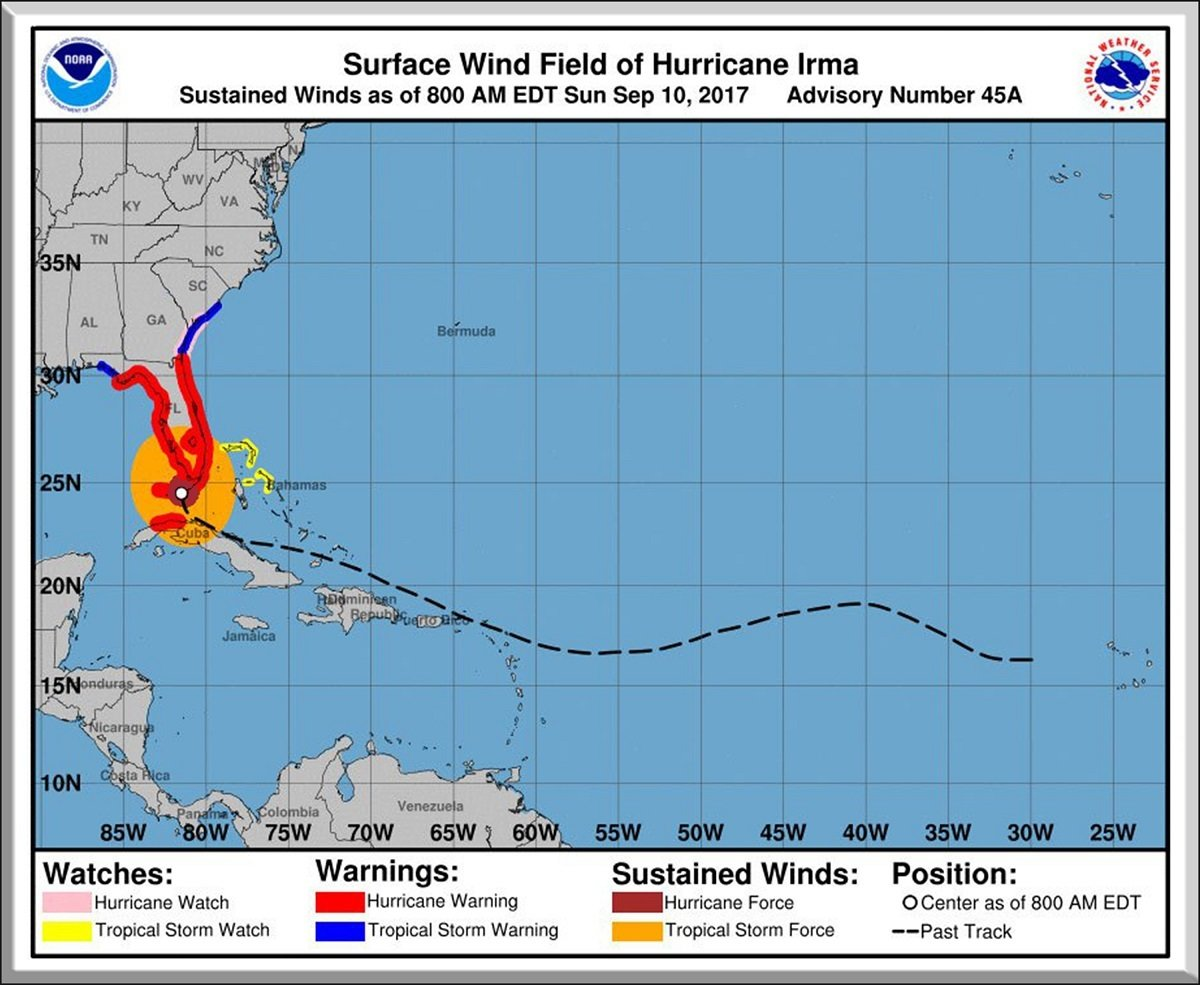 "Hurricane Irma Path 8"" x 10"" 10668"