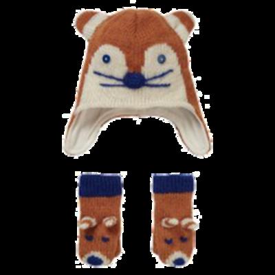 Knit Ginger Fox Hat & Mitten Set