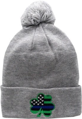 Blue Line Shamrock Cuffed Pom Knit Hat Grey