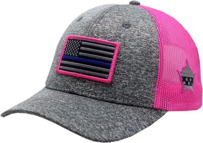 Blue Line Flag Snapback Grey Patch Charcoal/Pink