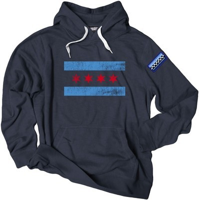 Chicago Flag Crossover Hoodie With Side Bar Patch