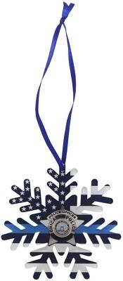 Blue Line Flag CPD Star Acrylic Ornament Snowflake