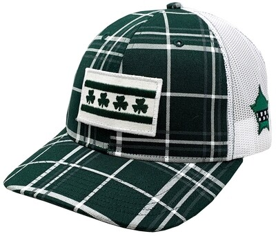 Irish Shamrock Chicago Flag Snapback Mesh Plaid Green/White