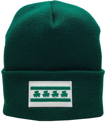 Chicago Flag Shamrock Irish Cuffed Knit Hat Sprouse