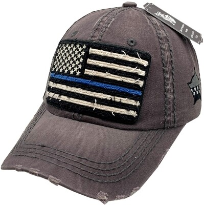 Distressed Blue Line Flag Vintage Hat Buckle Back Grey