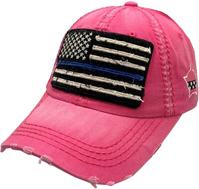 Distressed Blue Line Flag Vintage Hat Buckle Back Pink