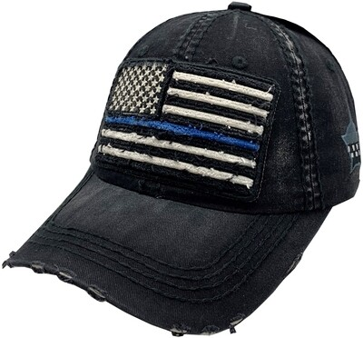 Distressed Blue Line Flag Vintage Hat Buckle Back Black