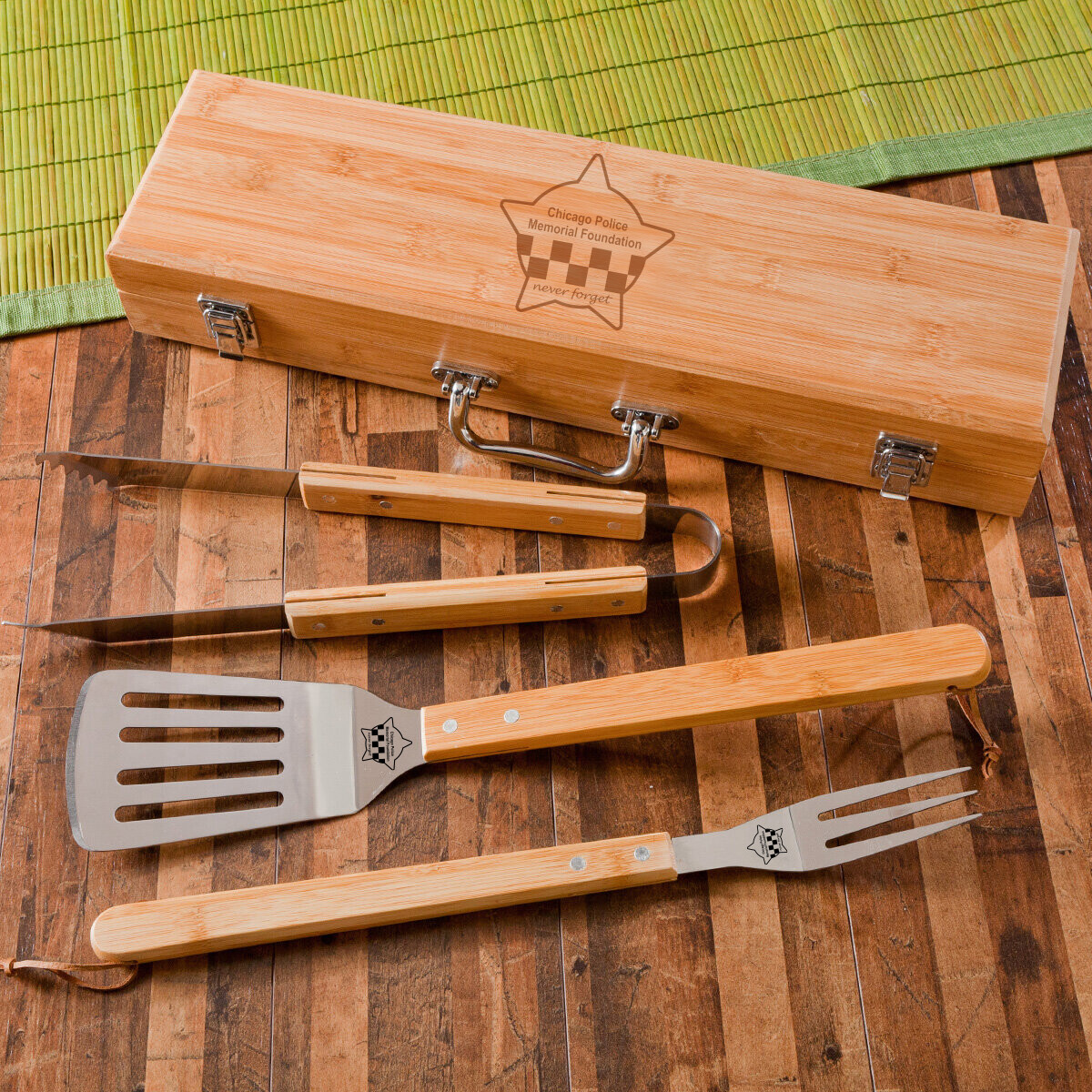CPD Memorial 3-Piece Bamboo BBQ Set in Bamboo Case