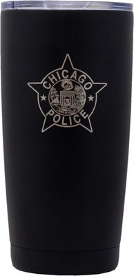 CPD Star Tumbler Stainless Steel Black Coated W/Clear Lid 20oz.