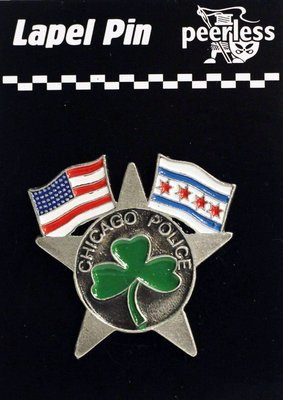 CPD American & Chicago Flags W/Clover Lapel Pin