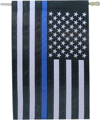 American Flag Blue Line House Flag Applique Direct Stitched 28