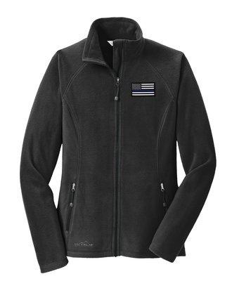 Eddie Bauer American Flag Blue Line Ladies Microfleece Full Zip Jacket EB225
