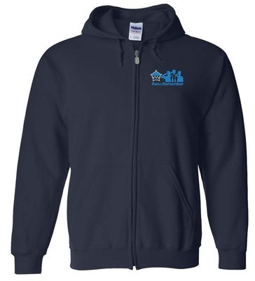 Run To Remember Full Zip Sweat Shirt with Embroidery on Left Chest Blue 16000