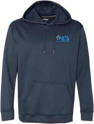 Run To Remember Performance Tech Hooded Pullover Sweatshirt Blue 99500