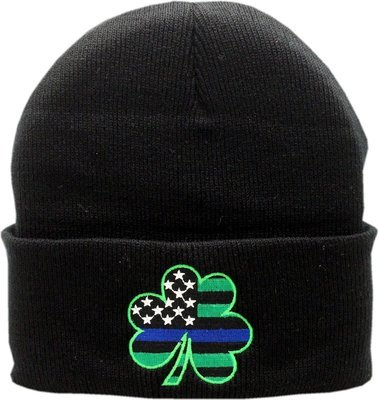 Shamrock American Flag Blue Line Cuffed Knit Black