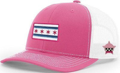 Chicago Flag Snapback Trucker Mesh Pink/White