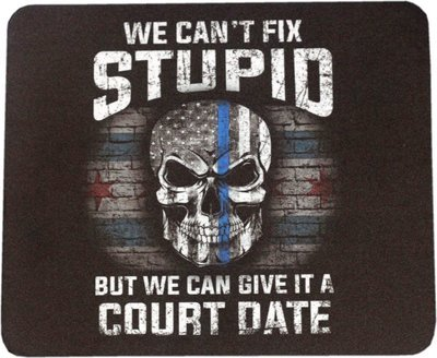Blue Line Skull Mouse Pad Sublimated
