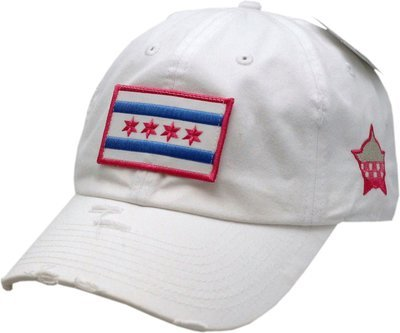 Chicago Flag Hat Vintage Buckle Back White