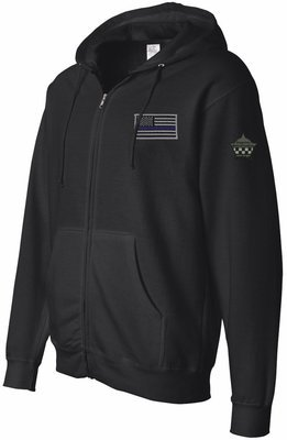 Blue Line Flag Midweight Hooded Full-Zip Sweatshirt