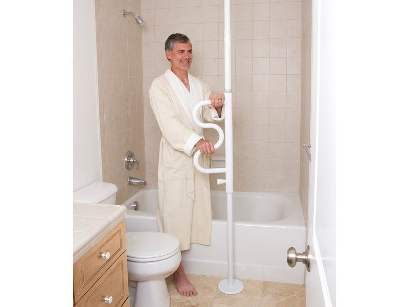 Security Pole | Curve Grab Bar Bathtub Transfer | Bathroom | Step Transfer | Standing Support | Stander | Mobility Aid Seniors | Bathroom Safety | Safety Rail | Home Safety Device | Home Care