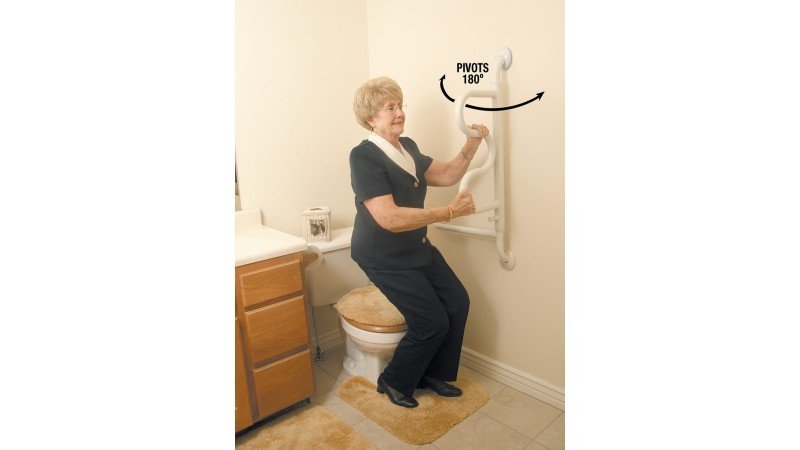 The Curve Grab Bar | Senior Safety | Reduce Fall Risk | Bathroom Mobility Aid | Standing Aid Toilet | Elderly Mobility