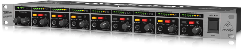 Behringer HA8000 V2 рэковый 8-канальный усилитель для стереонаушников, импульсный блок питания
