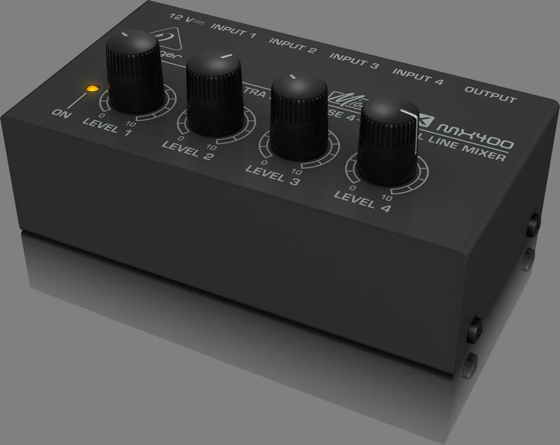 Behringer MX400 аналоговый микшер, 4-канала, 4 линейных моно входа Jack, моно-выход Jack