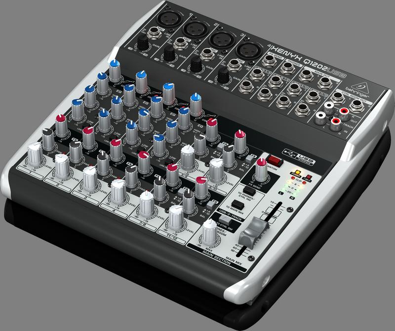 Behringer Q1204USB аналоговый микшер, 10 каналов, 4 мик.+ 2 лин. стерео + 1 AUX RET, 2 AUX, Mute- MAIN/ALT3-4, USB-audio, Main L/R- XLR, 4 компрессора