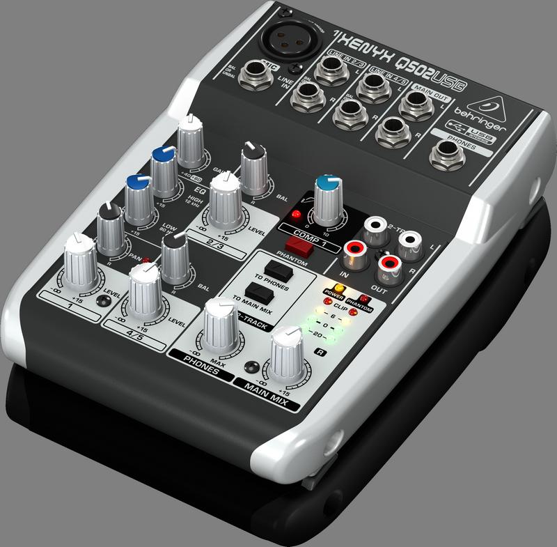 Behringer Q502USB аналоговый микшер, 5 каналов, 1 мик. + 2 лин. стерео, USB-audio, Main L/R- Jack, 1 компрессор