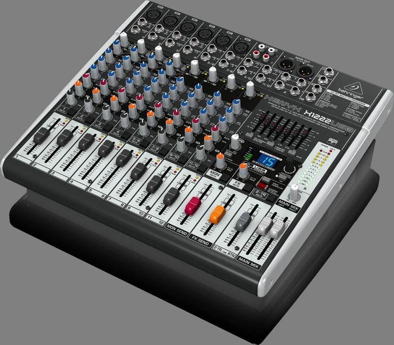 Behringer X1222USB аналоговый микшер, 12 каналов, 4 мик.+2 мик.моно/лин. стер.+2 лин.стер.+2TR, 2 AUX, DSP FX, USB-audio, Main L/R- XLR, 4 компр. GEQ
