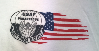 "pja/ White T-Shirt with ParaRescue Flash and Tattered Flag left chest. PJ Association ""Guardian Angel"" on back"