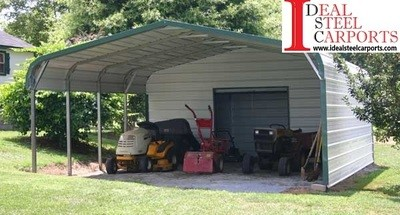 18 x 25 x 7 Two Car Carport with Enclosed Storage