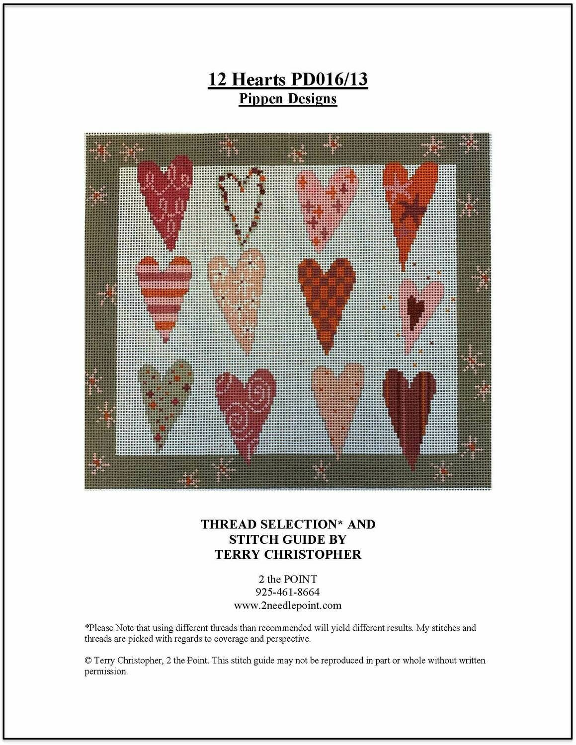 Pippen Designs, 12 Hearts PPD016/13 count