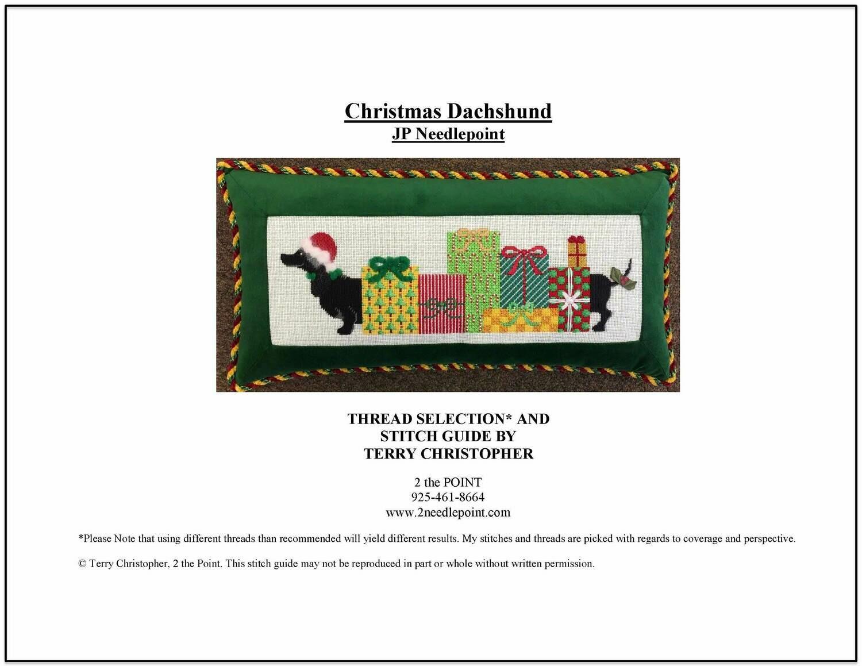JP Needlepoint, Christmas Dachshund