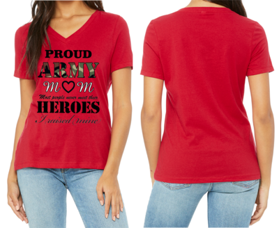 RED V-NECK PROUD ARMY MOM SHIRT FREE SHIPPING