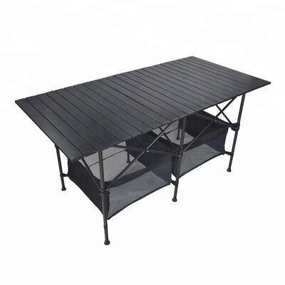 140cm Black Portable Folding Compact Camping Picnic Table