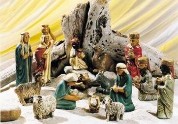 Kerstgroep 15 figuren in steen 20 cm