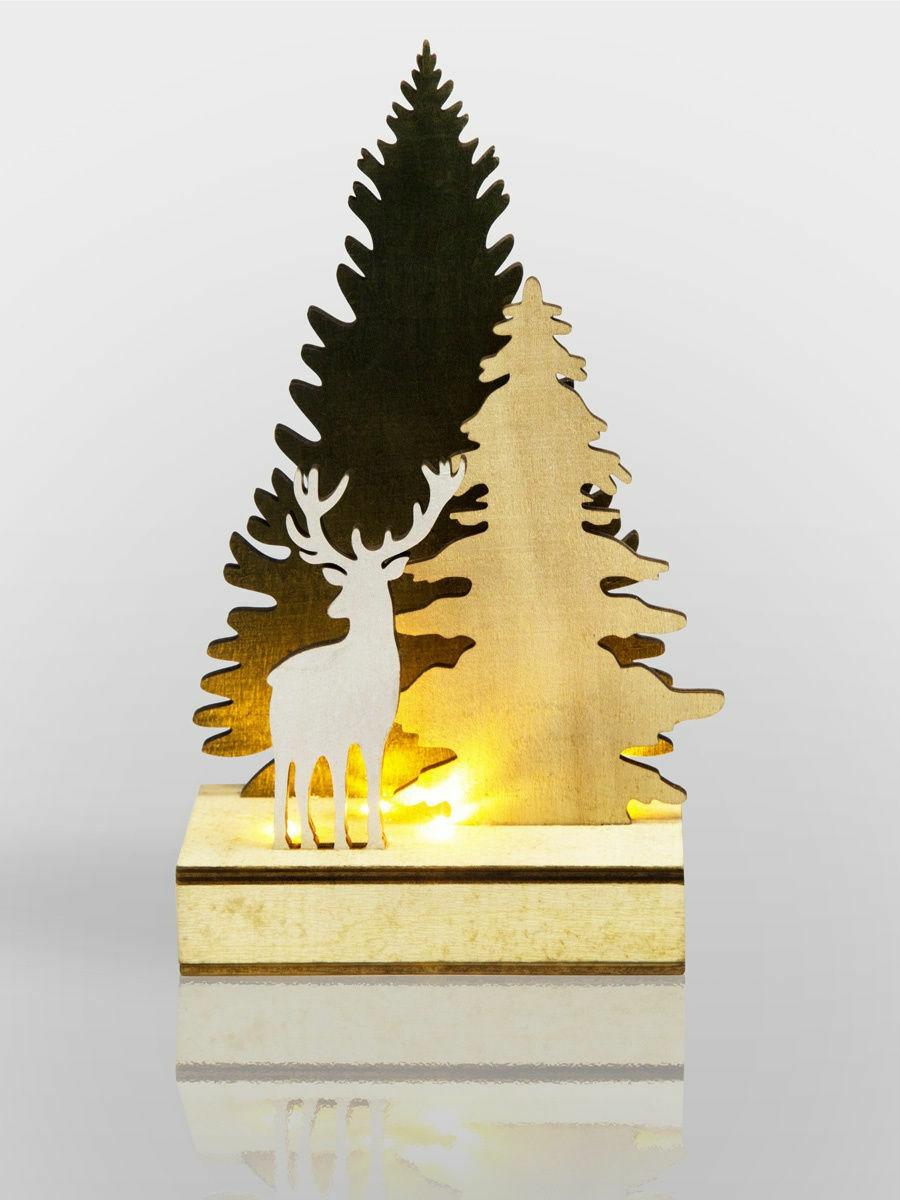 """Фигура дерев. с подсветкой """"Елочка с оленем"""" 12*6*21,5 см 504-002 Neon Night"""