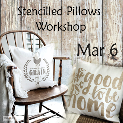Stencilled Pillow Workshop - Mar 6