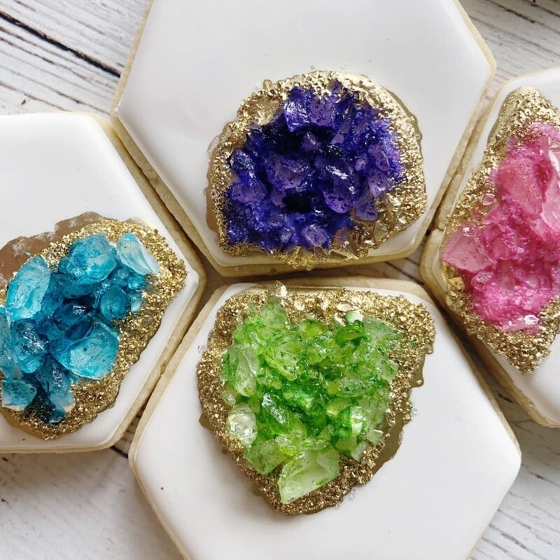 'Geode Hexagons Decorating Workshop - TUESDAY, JUNE 16th at 6:30 p.m. (THE COOKIE DECORATING STUDIO)