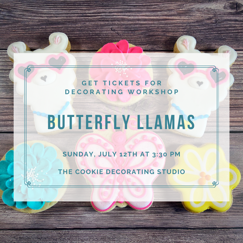 'Butterfly Llamas' Decorating Workshop - SUNDAY, JULY 12, 2020 at 3:30 p.m. (THE COOKIE DECORATING STUDIO)