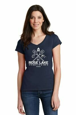 Rose Lake  Softstyle® Women's Fit V-Neck T-Shirt