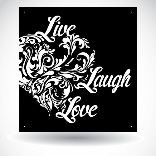 Live Laugh Love Heart Panel SB-H-003