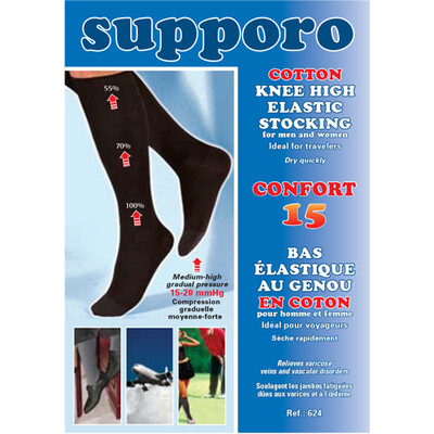 Supporo Cotton Knee Cotton Knee High Stocking 15-20 mmHg