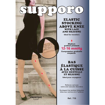 Supporo Elastic Above Knee with Lace and silicone Support Stocking 12-16 mmHg