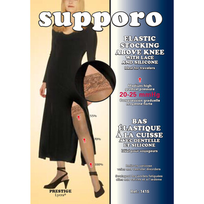 Supporo Elastic Above Knee Support Stocking 15-20 mmHg with Lace and silicone