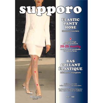 Supporo Elastic Panty Hose Medium-High Gradual Pressure 20-25 mmHg