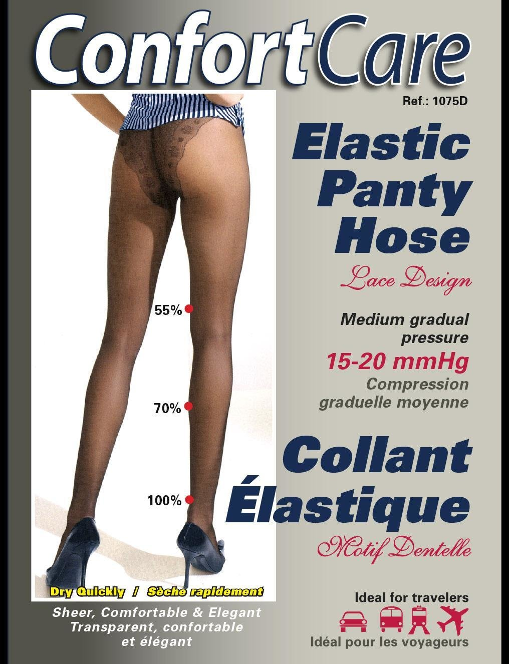 Elastic medium Support  Panty Hose ( Lace Design  Motif Dentelle) (15-20mmHg)