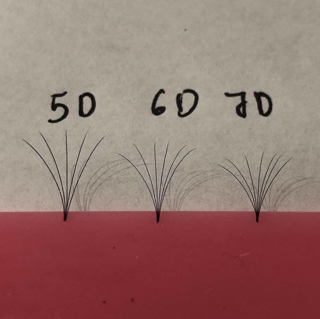 pre hand fans ( A Box of 500 Fans) 5D U (DD) curl 19mm 0.07