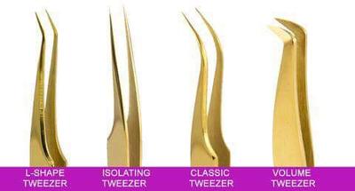A set of 4 Eyelash extension tweezers